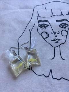 Brand new fish bag earrings