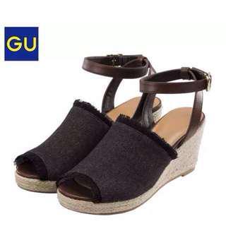🚚 Gu 綁帶 魚口涼鞋 丹寧