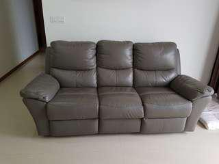 Half leather recliner 3 seater sofa