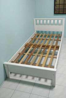 Wooden single bed white
