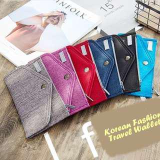 Korean Fashion Travel Wallet (Dompet banyak sekat) Slim Tipis cocok untuk traveling, Hitam / Black dan Biru Tua / Navy