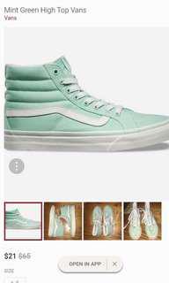 Mint green high top Vans 高筒