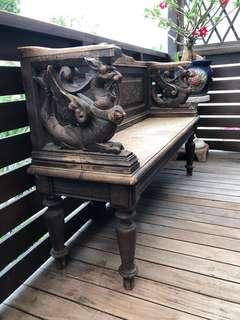 Old Oak Wood Bench