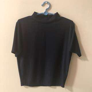 🚚 Navy blue pleated mock neck top