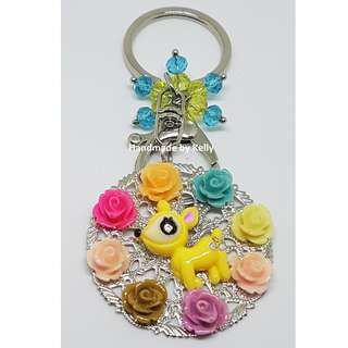 Handmade Little Deer with Roses Bag Charm Keychain