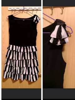 全新黑白雪紡連身裙