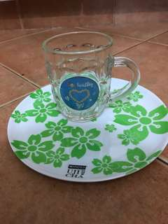 Glass mug and plate set