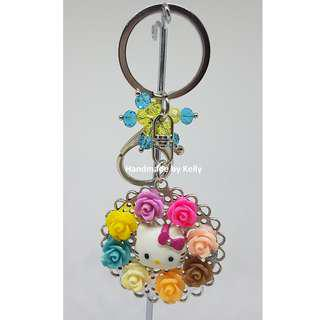 Handmade Cat with Roses Bag Charm Keychain