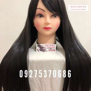 Cosplay Straight Long Black Wig Washable with Bangs