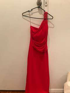 Red one shoulder floor length gown