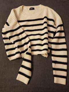 Cropped striped jumper 100% cotton
