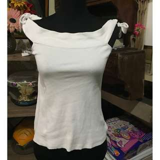 Mango White Ribbon Top