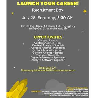 Open House For Fresh Graduates and Job Hunters