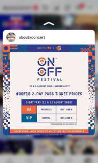 Tiket ON OFF FESTIVAL 2 days pass