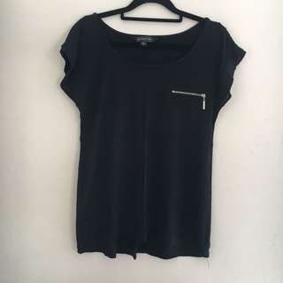 Glassons Black T-Shirt with Zipper Detail