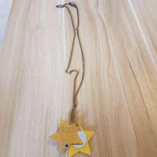 星星鏡子頸鏈33cm長 錬咀4cm (包普通郵寄)