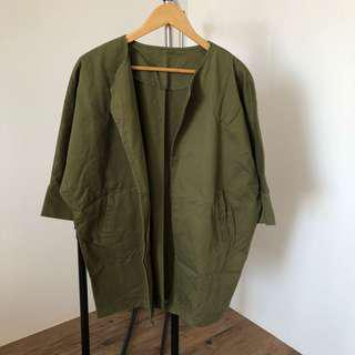 Green cover up korean jacket