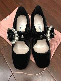 New Miu Miu velvet pearls buckle heels sz37