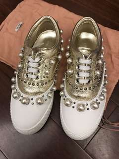 Miu Miu gold white leather with pearls sneakers sz37