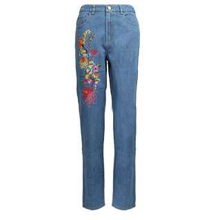 Poplook Tapered Embroidery Jeans