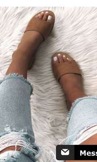 Crete slides tan flats whitefox boutique 8
