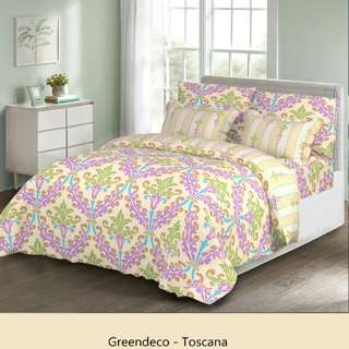 Promo bed cover green deco 240x210cm