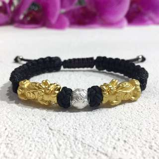 🚚 Gold Plated Pixiu Paracord Bracelet