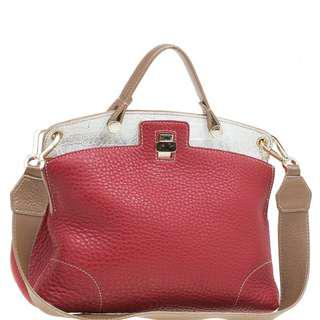 Furla Multicolor Pebbled and Croc Embossed Leather Small Piper Cartella Top Handle Bag