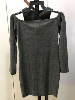 Off Shoulder Dress with leather design