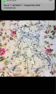 MDS White Marble Off Shoulder Dress