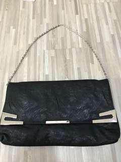 Black River Island clutch / shoulder bag with metal chain