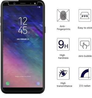 Samsung Galaxy A6+ A6 Plus 透明鋼化防爆玻璃 保護貼 9H Hardness HD Clear Tempered Glass Screen Protector (包除塵淸㓗套裝)(Clearing Set Included)