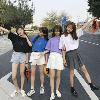 🚚 (全新免運)韓版chic學院風刺繡英文字母上衣短袖上衣大學T