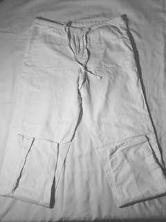 White, drawstring pants
