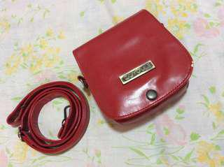 Caiyoule Red Leather Instax Mini 25 Bag
