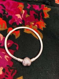 Brand new Pandora Bracelet with Crystal studded heart clasp