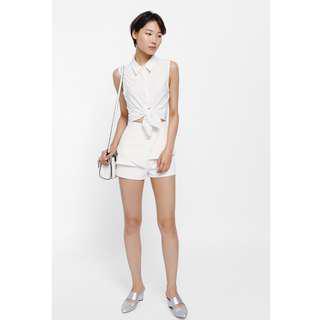 Love, Bonito Ophelia Origami Peplum Shorts in WHITE