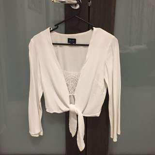 White cropped tie up top