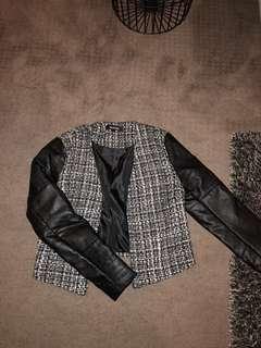 Faux leather crop jacket