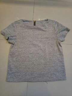 Grey Zipback Top