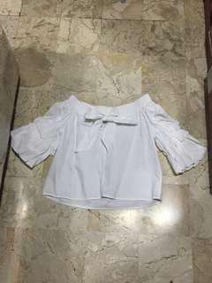 Zara white ribbon top