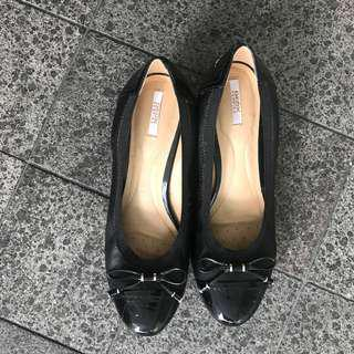Geox Black Ballerina Pumps Wedges Leather Shoes