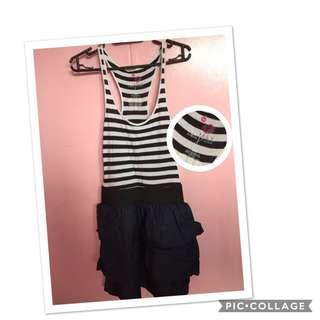 Black and white top/ denim bottom skirt