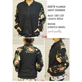 Jaket bomber flower import