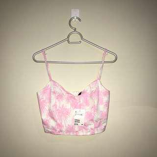 Brand New Authentic H&M Baby Pink and White Tropical Print Crop Top