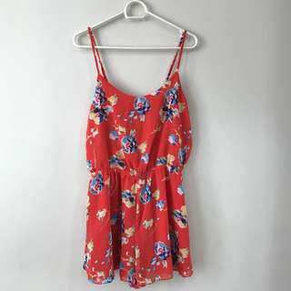 Authentic Forever 21 Bright Red Floral Printed Romper