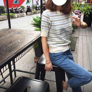 🚚 降價囉)正韓-藍色線條針織衫