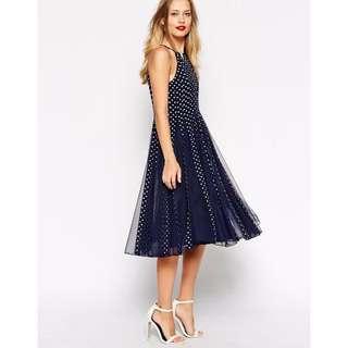 ASOS Spot Mesh Fit and Flare Midi Dress