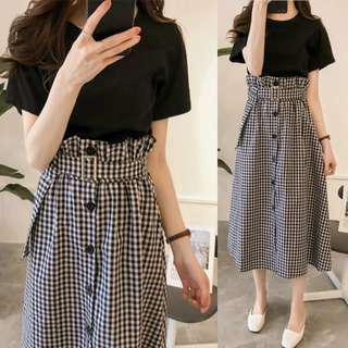 Checkered Skirt with top