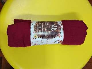全新 手造 深紅色 純棉 冷氣 薄圍巾